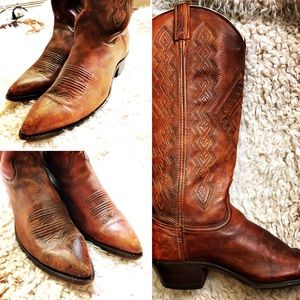 VTG DAN POST Leather Cowboy Boots